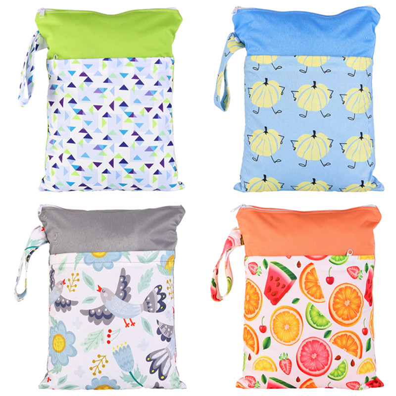 [simfamily] Wet Bag Waterproof Printed PUL Diaper Bag Double Pocket,Cloth Handle,28x36CM With YKK Zipper Wholesale