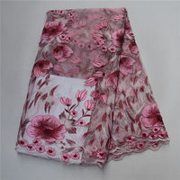 Fuchsia Pink Flower Lace Fabric For Party, Beautiful Fashion Design French Lace Wedding Lace Fabric African Tulle Lace Fabric 30