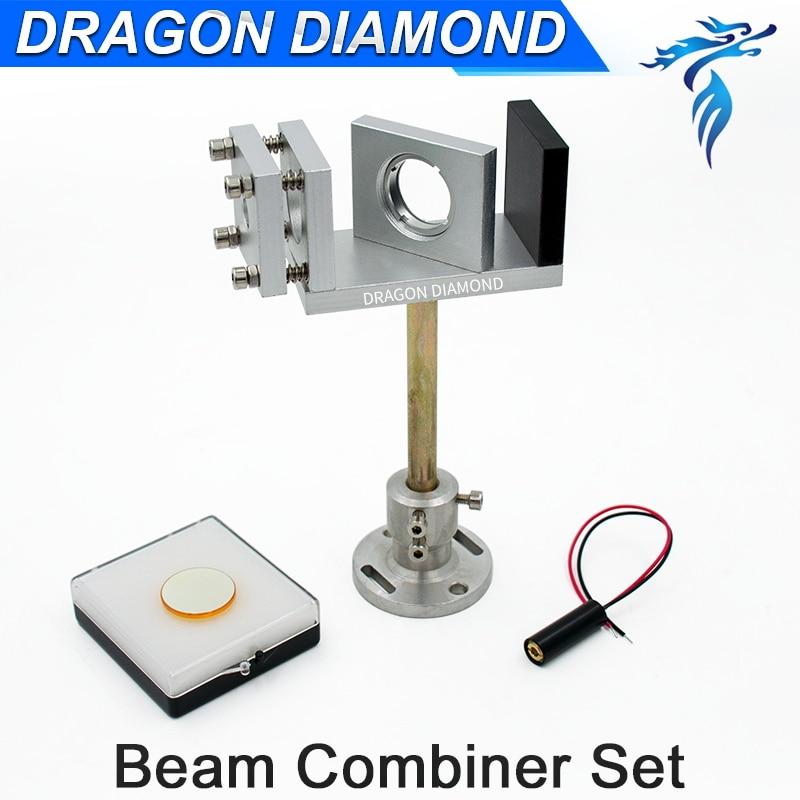 Laser Beam Combiner Set 20mm 25mm + Beam Combiner Mount + Laser Red Pointer 5V For CO2 Laser Machine best quality dia25mm thickness 2mm laser beam combiner for 1064nm laser marking machine beam combiner