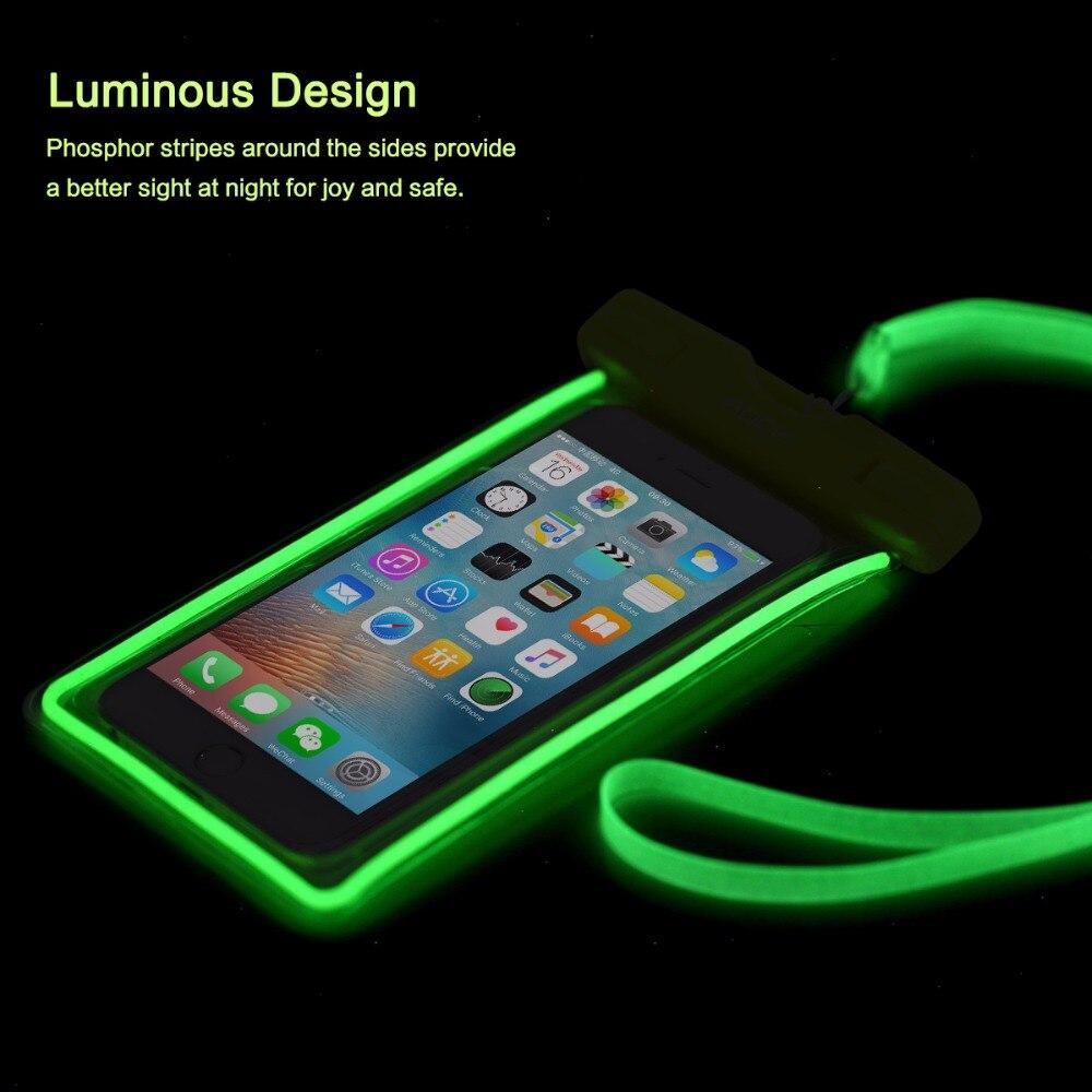 imágenes para ROCA luminosa del teléfono móvil bolsa impermeable para iphone 7 plus 7 s8 6 pulgadas o más pequeño teléfono bolsa de alta calidad libre gratis