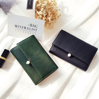2017 Hot Korea Sweet Style Soft Wallet Girl Pearl Snap Hasp Purse Women Genuine Leather Purse