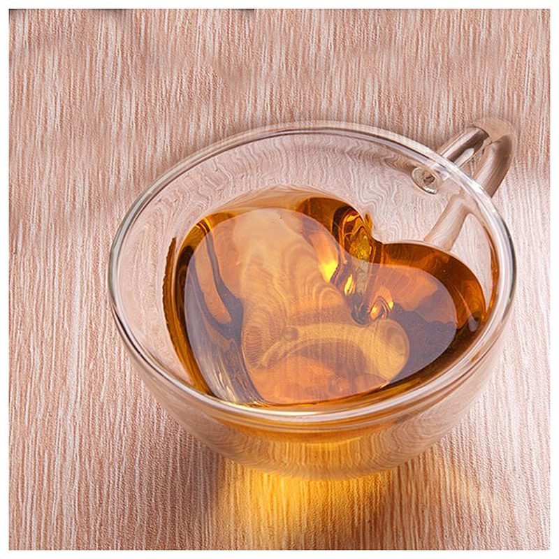 Double wall tea cup Heat resisting Creative heart shaped double glass glass tea cups juice mug milk coffee cup 1pc nice gift in Transparent from Home Garden