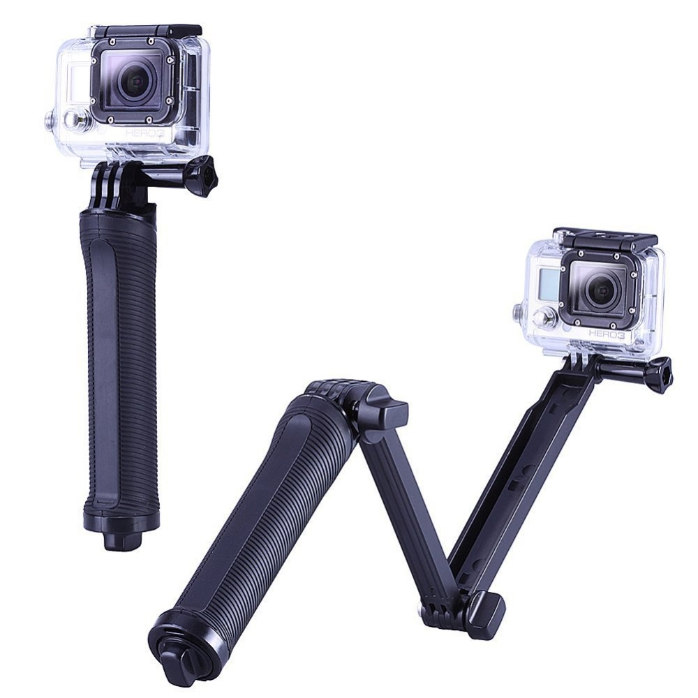 GoPro Accessories Collapsible 3 Way Monopod Mount Camera Grip Extension Arm Tripod for Gopro Hero 4 2 3 3+ 2 1 SJ4000 Xiaomi YI