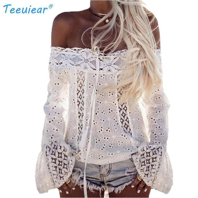 e50a4b784531e Nuevo Boho 2018 tie hombro Encaje crochet verano camisa mujeres blusa  casual sexy Slash Masajeadores de