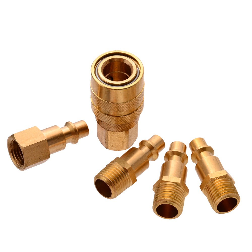 5pcs Solid Brass Quick Coupler Set Air Hose Connector Fittings 1/4 NPT Plug Female Male Quick Plugs Tools Mayitr 10pcs quick coupler fittings 1 4 air hose connector fittings for pneumatic quick fitting plug air tools