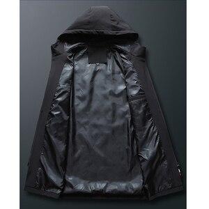 Image 4 - Heren Herfst Casual Lange Jas Trenchcoats Mannen Mode Hooded Solid Elastische Windjack Pocket Geul Jassen Mannelijke Kleding