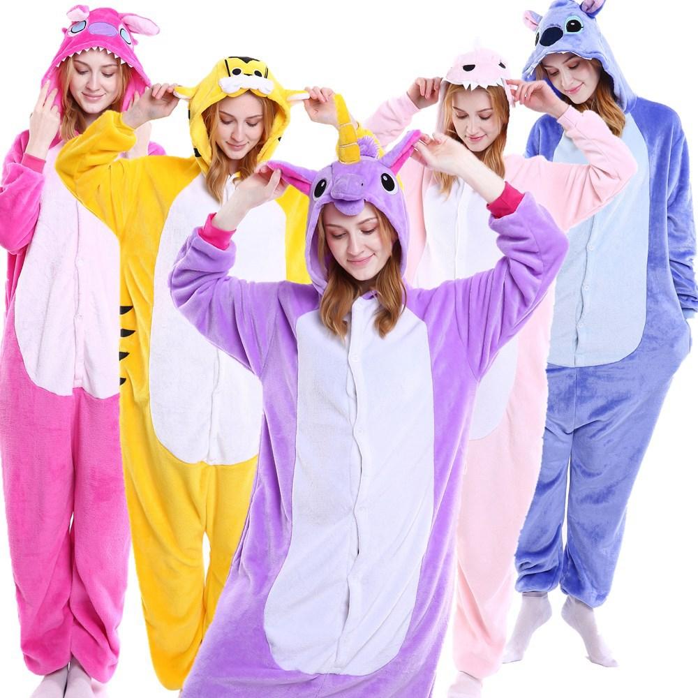 Unisex Onesie Animal Adult Pajamas Anime Cosplay Costumes Cartoon Sleepwear Stitch Unicorn Pikachu Winter Warm For Women Men