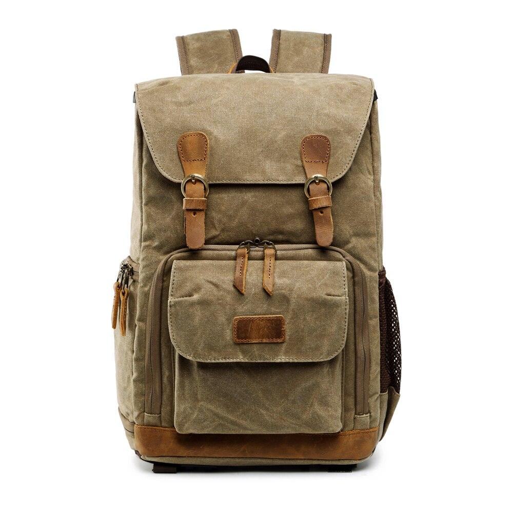 Toile étanche extérieure à la mode Vintage DSLR sac à dos hommes femmes photographie sac à bandoulière pour Canon Nikon Sony numérique - 2