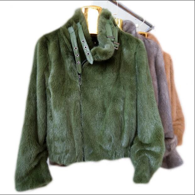 Las mujeres de invierno de piel de visón real abrigo corto estilo de la motocicleta de las señoras trajes de importación Piel de visón abrigo de piel de visón chaqueta Mujer-in piel real from Ropa de mujer    3