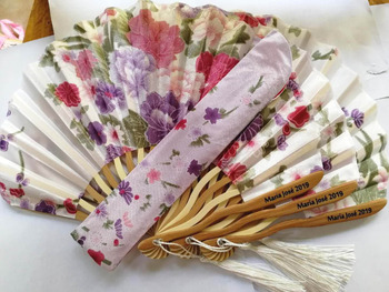 50 PCS Personalized Cherry Blossom Design Round Cloth Folding Hand Fan with Gift bag Wedding Gifts for Guests