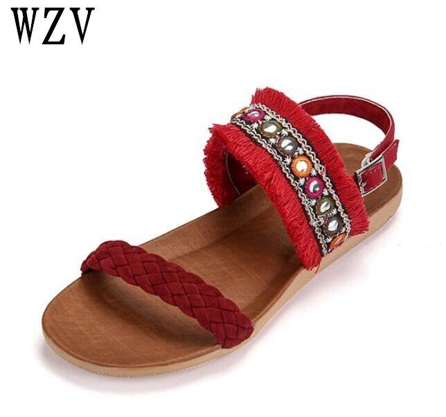 Plus size42 Summer Women Sandals Open Toe Bohemia Womens Sandles flat Women Shoes tassel Shoes woman B442