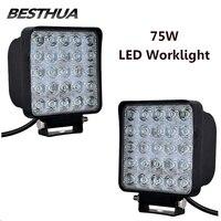 2Pcs 75W LED Work Light Bar LED Car Lights Square Cool White LED Work Lights Waterproof