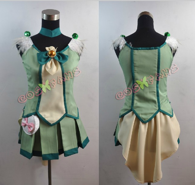 Free shipping Custom Cheap Green Cure March Cosplay Costume from Smile PreCure