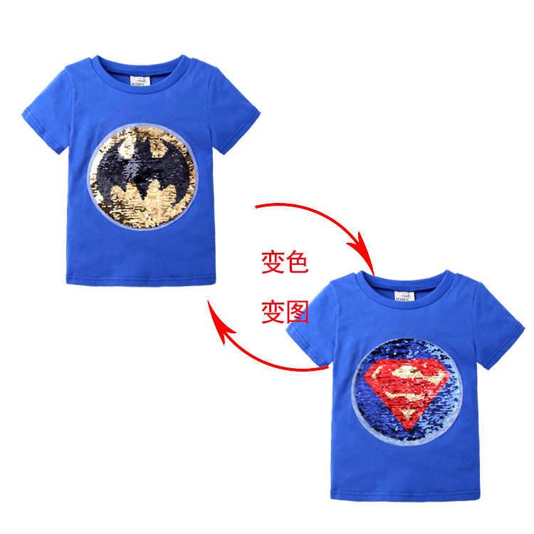 ฤดูร้อนเด็กเสื้อผ้าเด็กเสื้อยืดเด็ก 1 pcs Magic Sequin Reversible Cotton แฟชั่น T เสื้อเด็กเสื้อ Tee