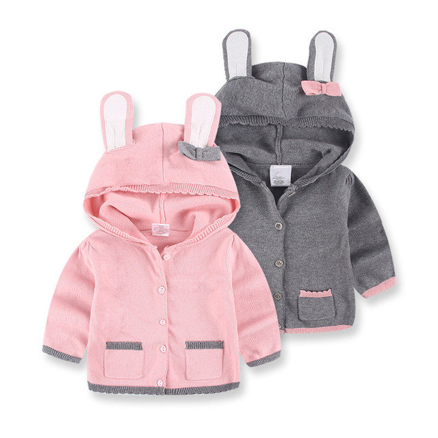 2016 Autumn 100% Cotton Cartoon Rabbit Girls Sweaters Children's Cardigan Kids Knitting Shirts Child Tops Outerwear Baby Clothes