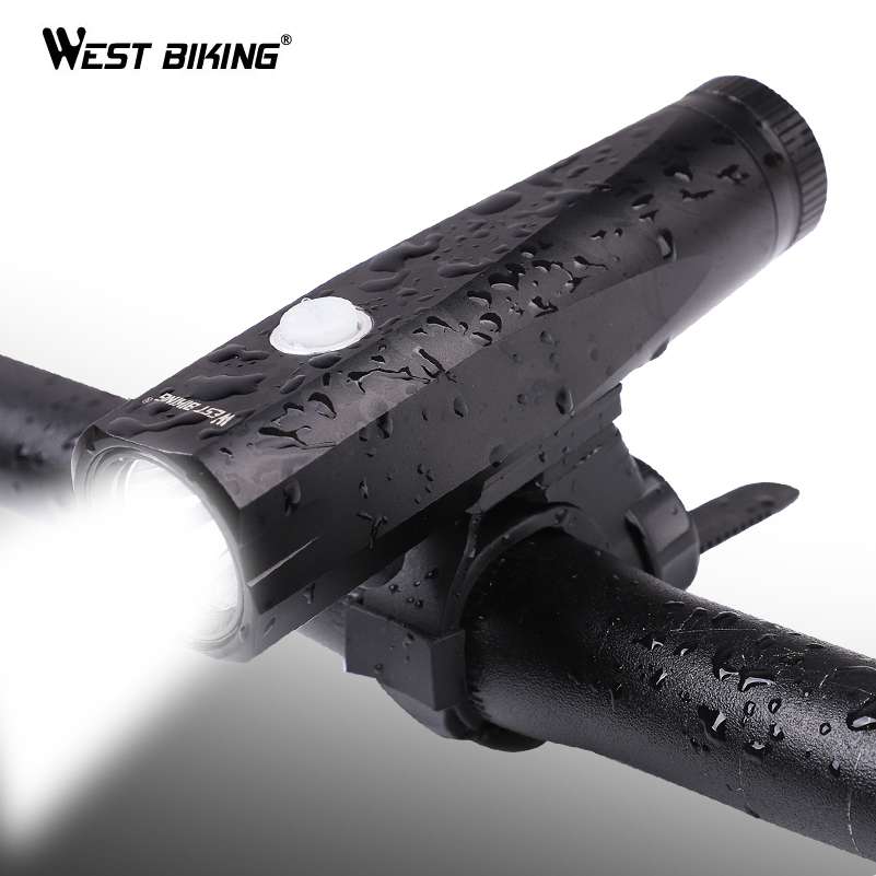 WEST BIKING USB Rechargeable Bike Light Front Handlebar Cycling Flashlight Torch IP-65 Waterproof Bike Headlight Bicycle Light gaciron 1000lumen bicycle bike headlight usb rechargeable cycling flashlight front led torch light 4500mah power bank for phone