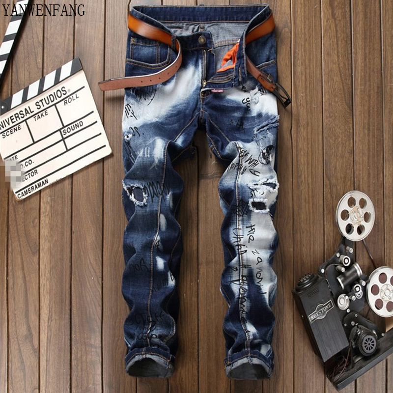 Men Hio-Hop Jeans Print Skinny Distress Fray Hole Washing euramerican Slim Fit Spring Autumn Newest Hot Sale Casual Pants Jeans