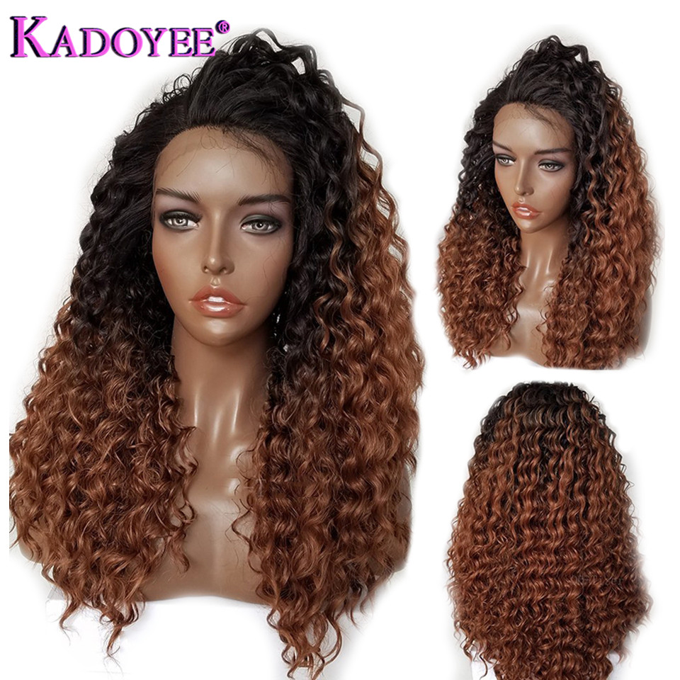 Brazilian Colored Curly Lace Front Human Hair Wigs Ombre Remy Hair Front Lace Wig Pre Plucked Bleached Knots Wig For Black Women