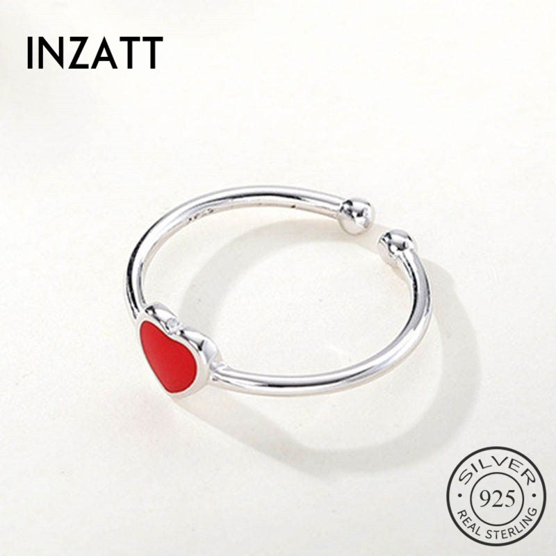 INZATT Real 925 Sterling Silver Enamel Red Heart Ring For Fashion Women Cute Fine Jewelry Accessories 2019 Gift