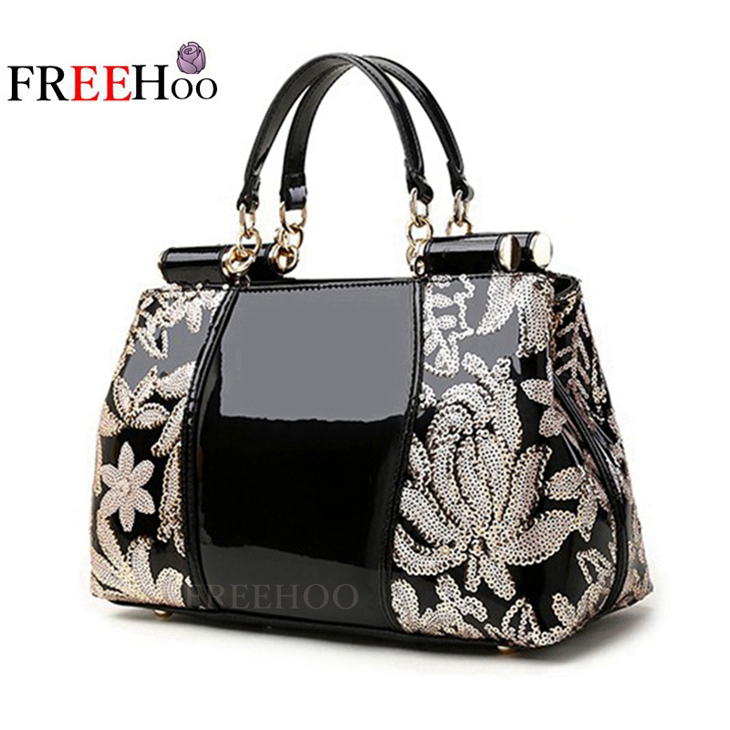 2018 New women bag in Europe and America sequined chains Luxury patent leather brand handbags women messenger bags the original single in europe and america 2015