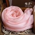 Genuine Silk Women Scarf 2016 Summer Autumn Winter High Quality Shawl 200 * 65 cm Fashion Pink Solid Color Scarves