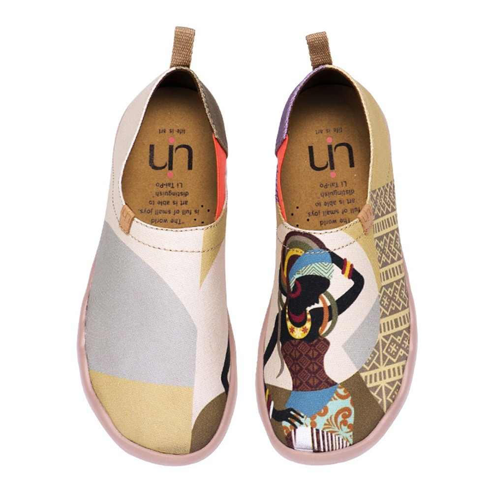 UIN African Beauty Design Painted Women's Loafers Slip-on Canvas Shoes Ladies Sneakers Outdoor Walking Casual Flats Lightweight