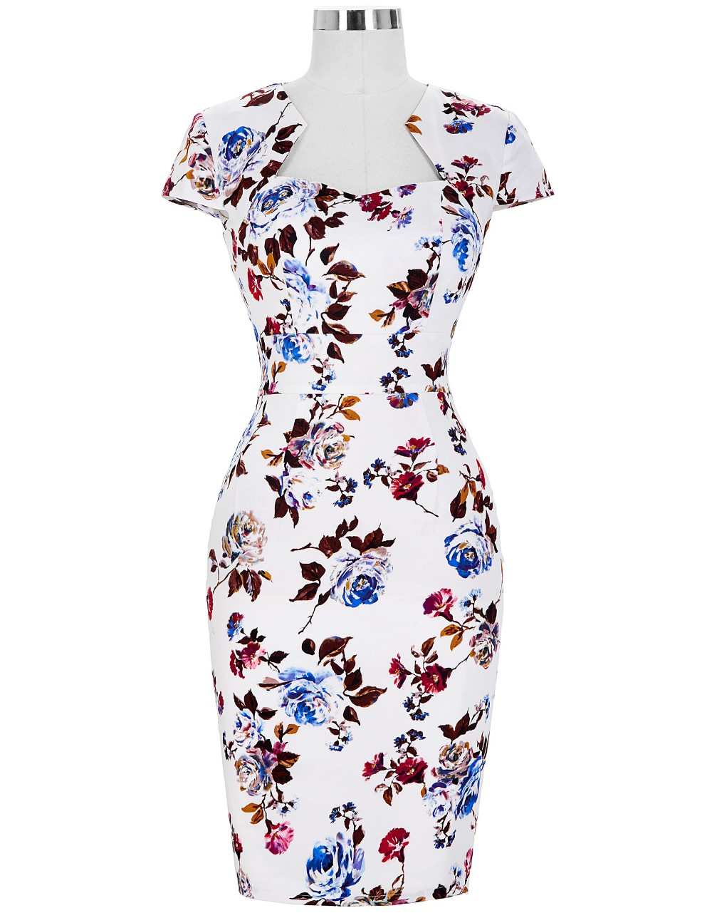 Women Plus Size Pencil Dresses Rockabilly Clothing 2018 Floral Summer Casual Party Office Dress Sexy 50s Vintage Bodycon Dress 21