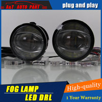 Car Styling Angel Eye Fog Lamp for Nissan micra LED DRL Daytime Running Light High Low Beam Fog Automobile Accessories