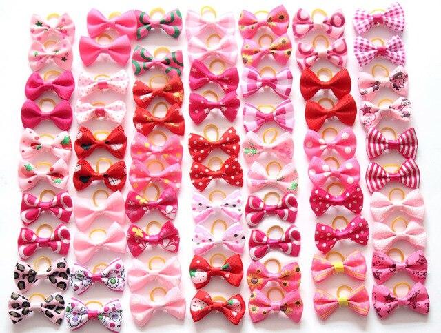 200 cái/lốc pet dog tóc cung cao su bands pet dog grooming bows hồng hoa hồng đỏ cho cô gái phụ kiện tóc con chó grooming sản phẩm