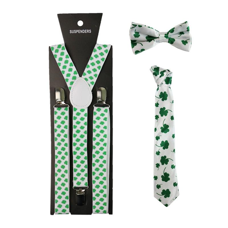 Fashion Four-Leaf Clover Suspenders Necktie And Bowtie Set Braces Elastic Clip-on Y-Back Suspenders Tie Set For Men Women