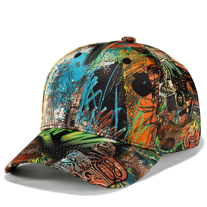 Independent Fashion Men's Casual Baseball Cap Street Personality Graffiti Hip Hop Hat Women Printing Sun Hat For Boys Girls High Quality