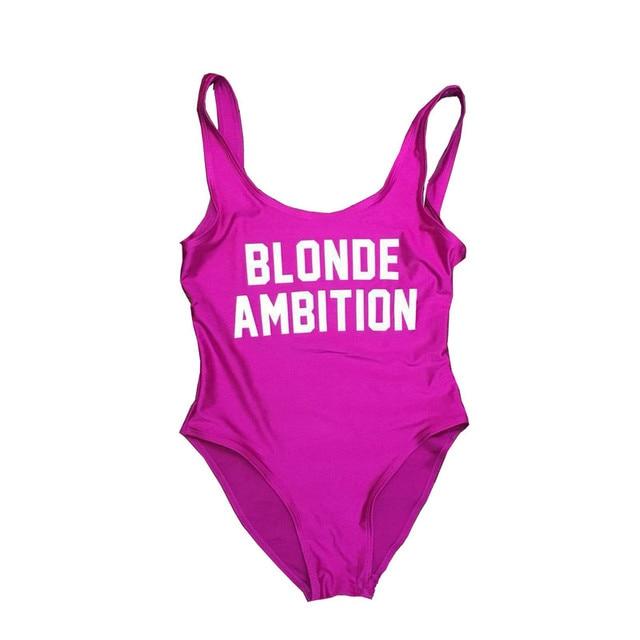 d7f11d823cc30 One Piece Swimsuit 2018 New Plus Size Swimwear Women Print Solid Swimwear  Vintage Retro Bathing Suits Monokini BLONDE Ambition