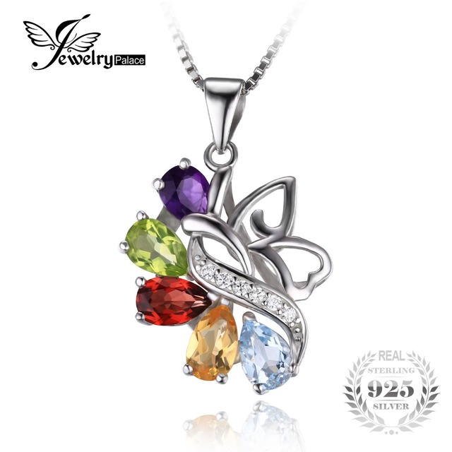 JewelryPalace Butterfly 2.4ct Genuine Amethyst Garnet Peridot Citrine Blue Topaz Pendant 925 Sterling Silver Without chain
