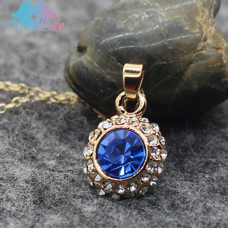 Miss Lady Gold color Rhinestone Crystal Luxury Moon River Necklaces & Pendants Wholesales Fashion Jewelry for women MLM4335