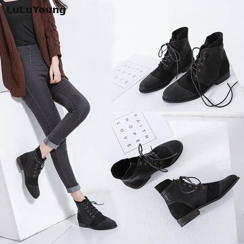 gris Cheville Heel Rond Up Femmes Lace Noir Confortable De Casual Low Bout Boot 6gSx4Z
