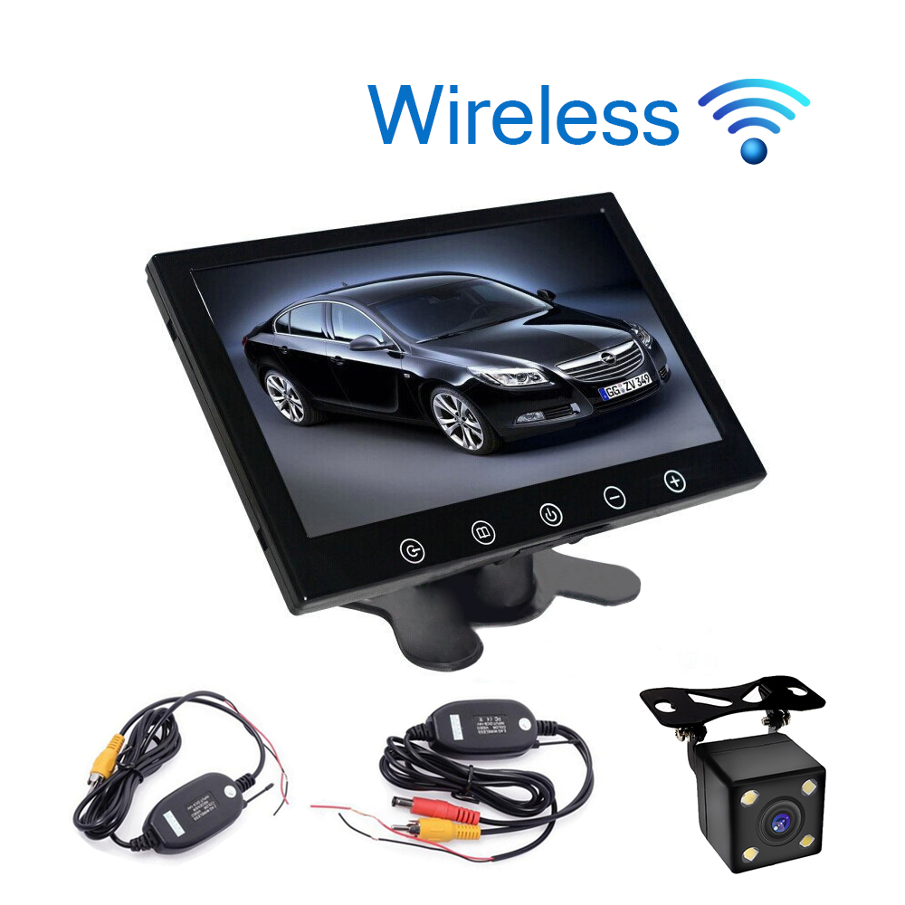 Car Styling Wireless 9 inch TFT LCD Touch Screen Car Monitor Display Rear View Display for Rear view Reverse Backup Camera 3in1 diy for hyundai i25 i35 i45 wireless wifi bluetooth backup rear view reverse rearview camera camara & screen monitor