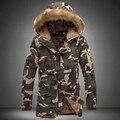L16 Moda camuflagem parkas homens militar de médio-longo casaco de inverno homens espessamento de algodão-acolchoado homens jaqueta de inverno com capuz de pele