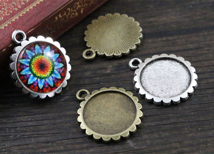 20pcs 16mm Inner Size Antique Bronze And Silver Flower Style Cabochon Base Cameo Setting Charms Pendant