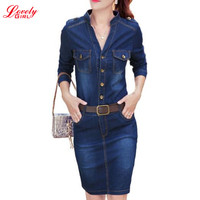 Denim Dress 2016 Autumn Winter V Neck Long Sleeve Bodycon Dresses Elegant Ladies Jeans Casual Vestidos