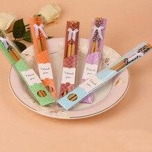 1000 пар/лот свадебные сувениры из натуральные бамбуковые палочки для еды комплекты сувениры, вечерние возврата подарок для гостей