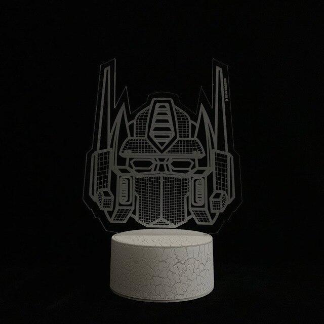 Dessin animé avec lampe 3D, transformateurs, Optimus, éclairage primaire, décoration de la maison, Table de noël du garçon, RC