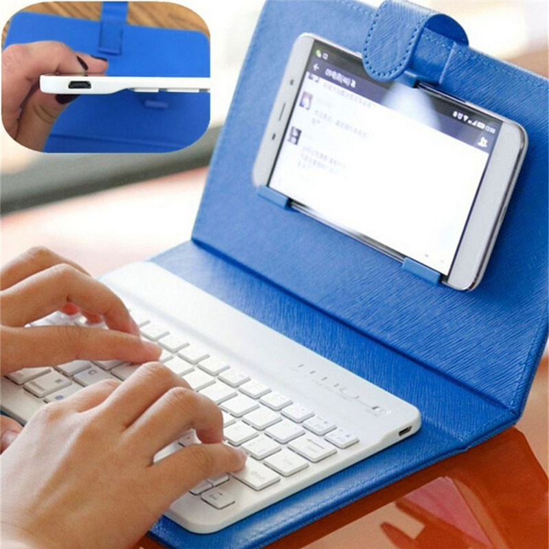 1PC 4 Colors Wireless Bluetooth 3.0 Mini Keyboard Flip PU Leather Case For IPhone universal 61 key bluetooth keyboard w pu leather case for 7 8 tablet pc black