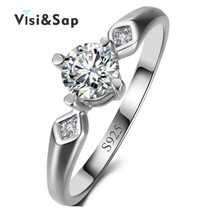 Eleple White gold color Rings For women Wedding anel cubic zirconia Euramerica style fashion jewelry VSR001
