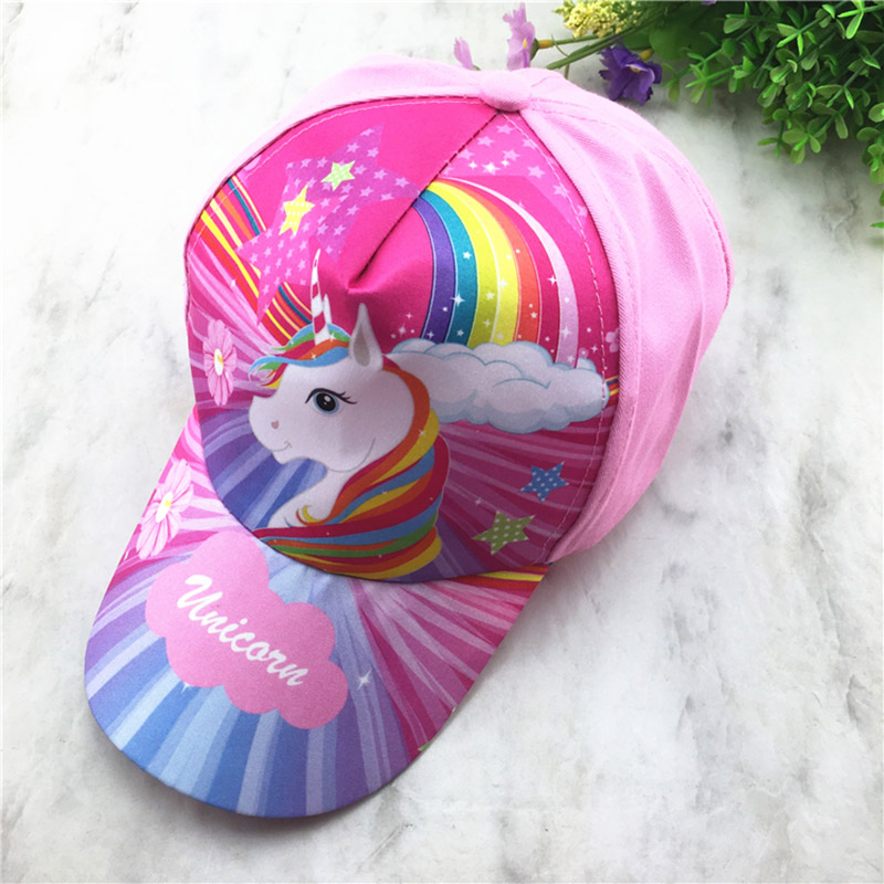 Adjustable Unicorn Rainbow Printed Kids Summer Sun Caps Sports Baseball Hats Kid Party Gift Cute Pink Girl Outdoor Hat Dropship