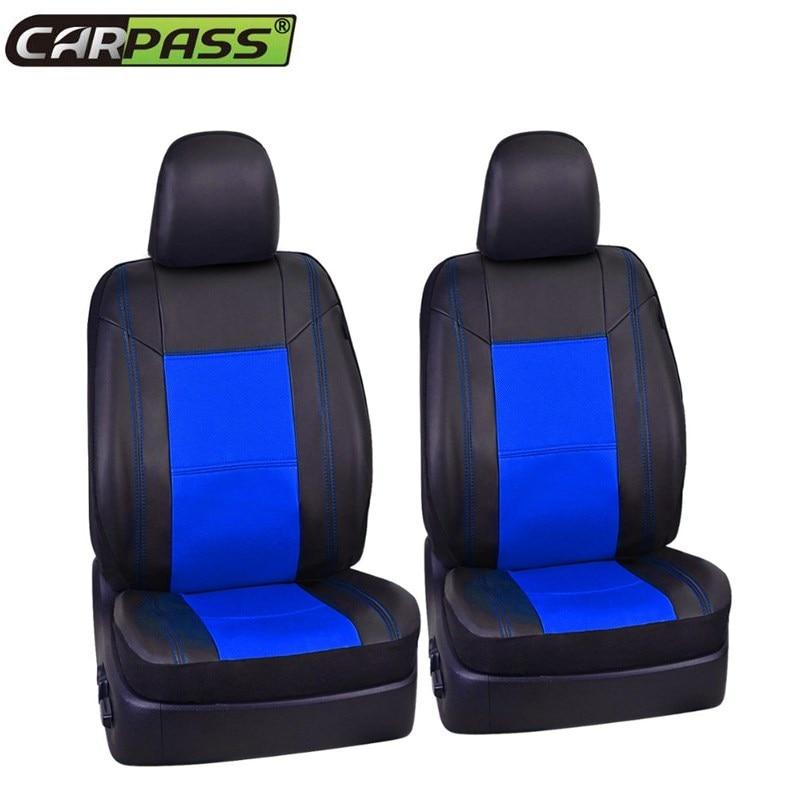 Car-pass Новый пробивая полная кожа 2 переднего сиденья красные, синие Бежевый лоскутное черный чехол подходит для Toyota hyundai Mazda VW