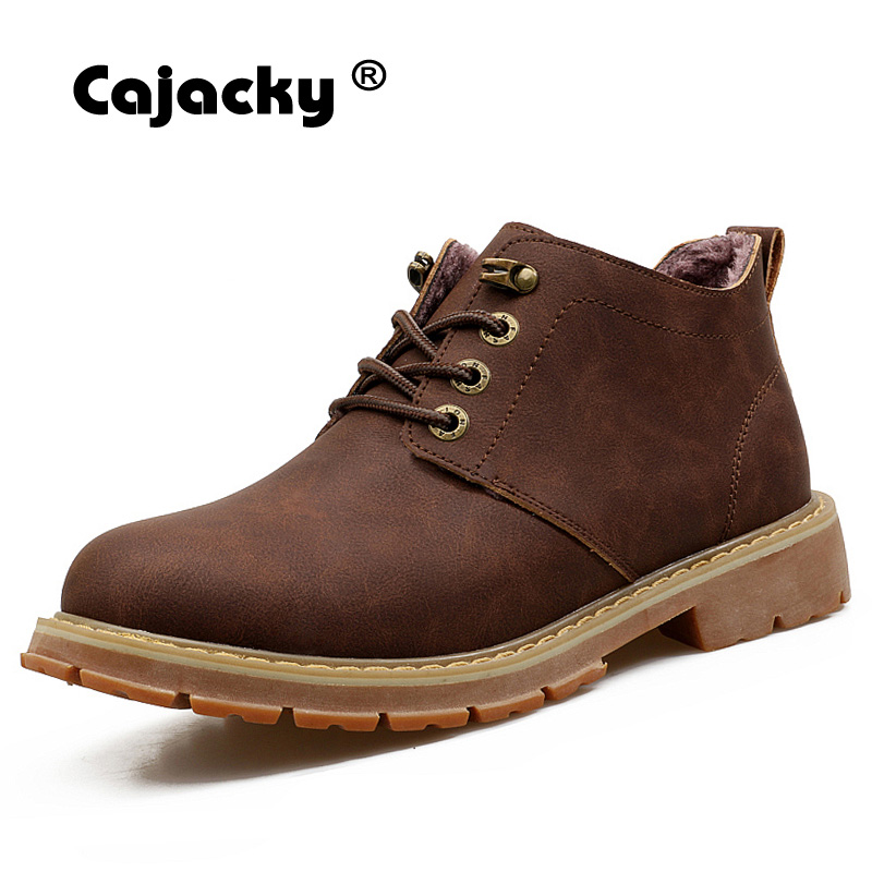 Cajacky working boots men winter martin boots with plush fur safety shoes genuine leather men ankle boots snow shoes brown botas