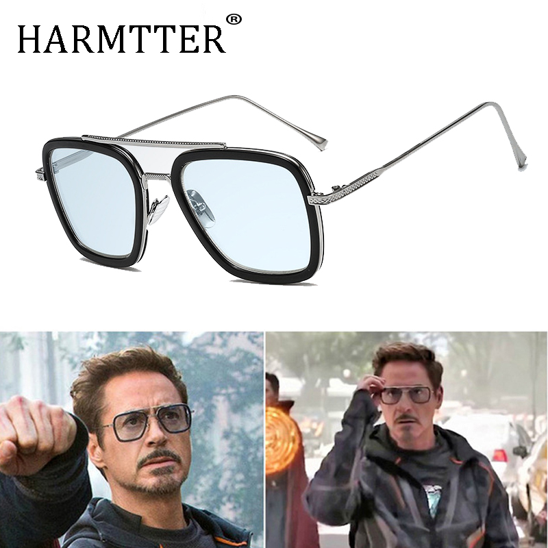luxury Fashion Avengers Tony Stark Flight Style Man Sunglasses Men Square Brand Design Sun Glasses Oculos Retro male iron Man 3