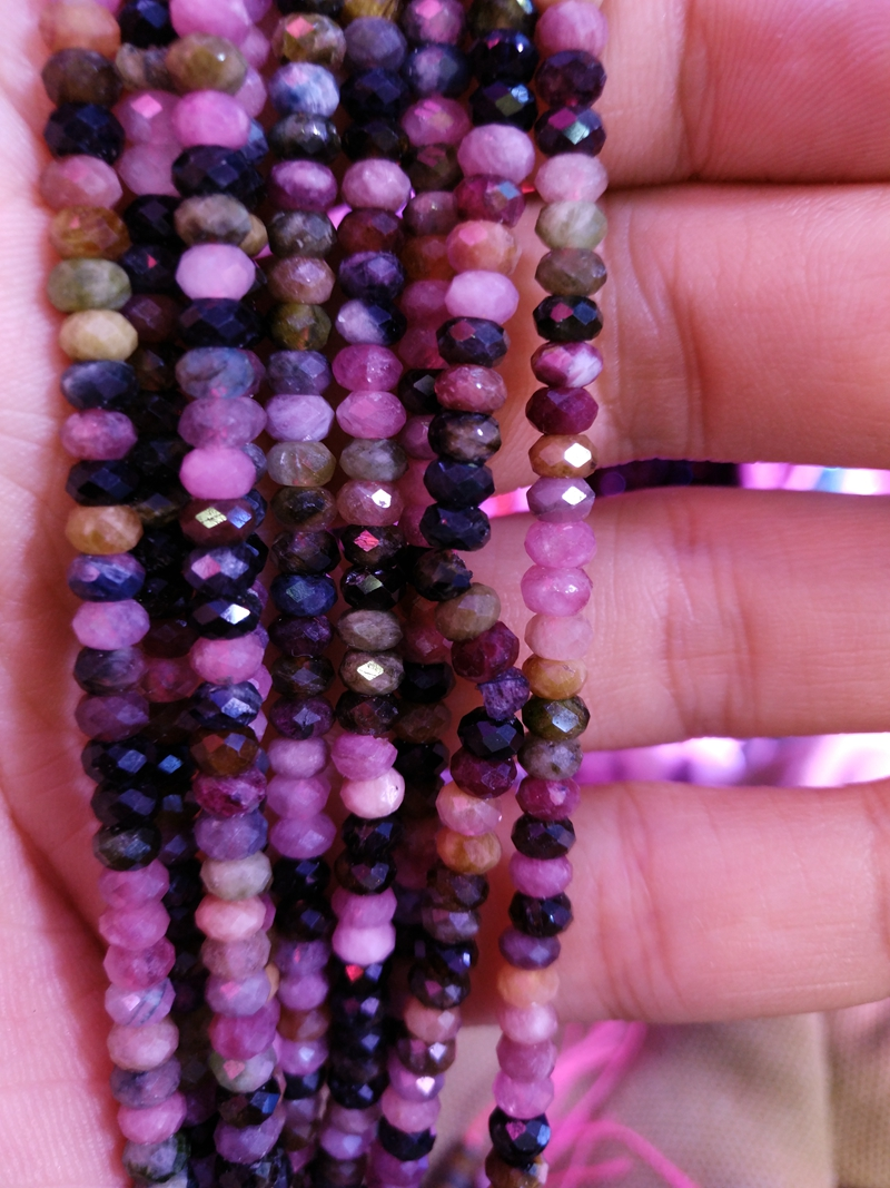 """Sell 5 Strands 15"""" High Quality Multi Tourmaline Faceted 3x5mm Roundel Disc Gem Beads for jewelry making"""