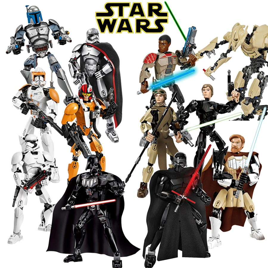 Star Wars Buildable Figure Building Block Toy Kylo Ren Chewbacca Darth Vader Boba Jango Fett Stormtrooper Compatible with lego game of thrones house sigils