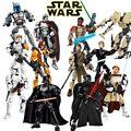 Star Wars Работоспособна Фигурку Модель Строительные Блоки Игрушки Финн рей Poe K-2SO Джанго Фетт Дарт Вейдер Совместимо с Lego КСЗ